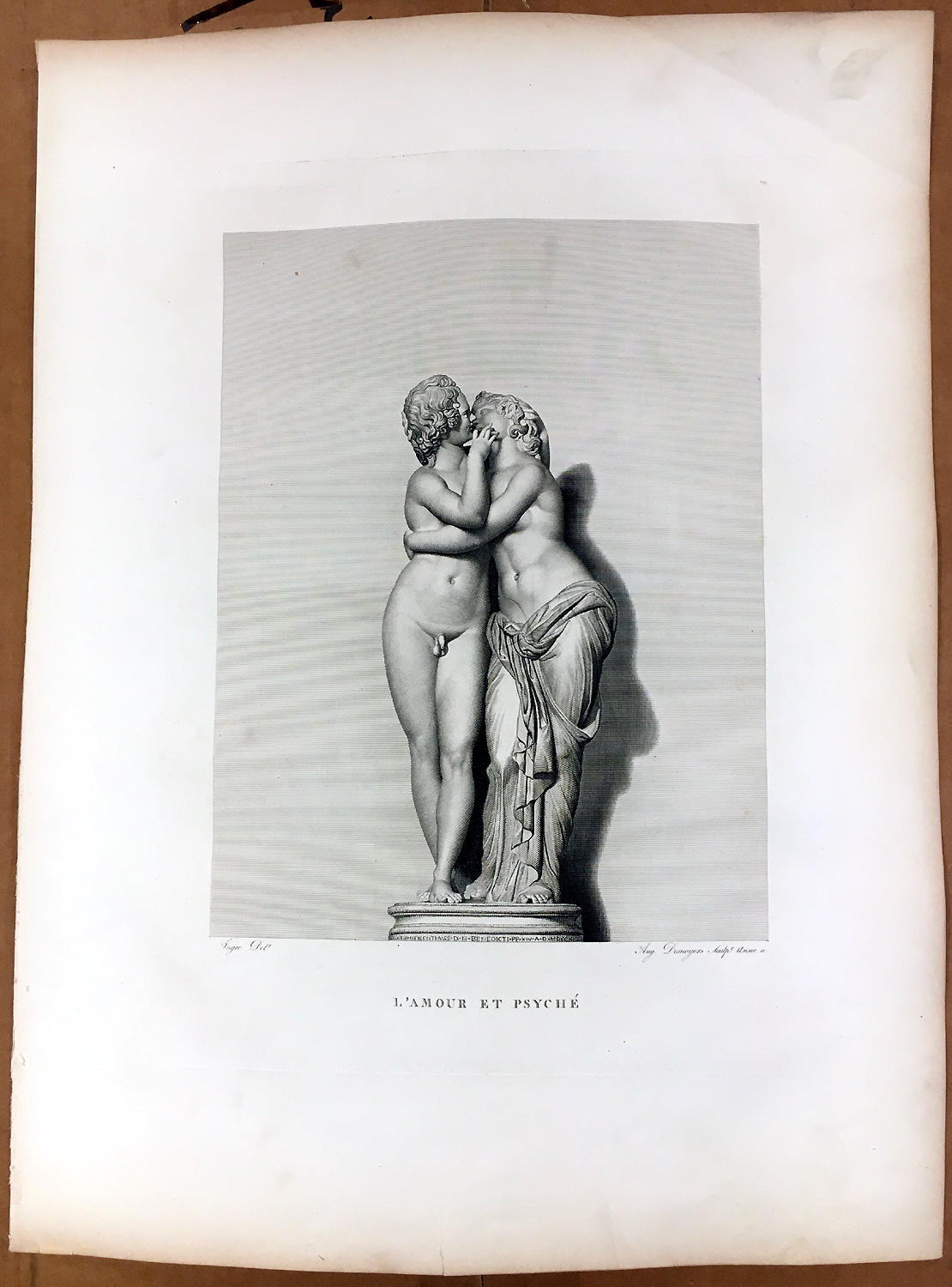 Details about naked nude boy girl cupid psyche kiss 1830 classic statue art print engraving